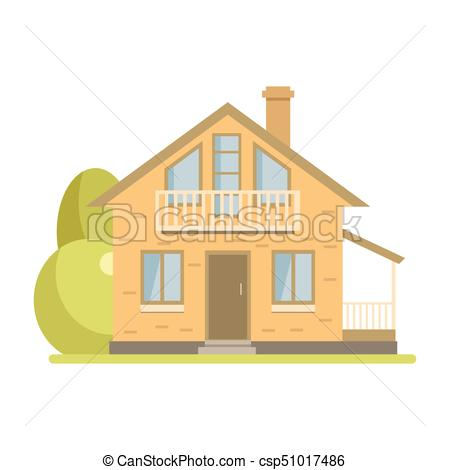 450x470 Cute Cottage Brick House With Balcony And Attic. Cute Vector