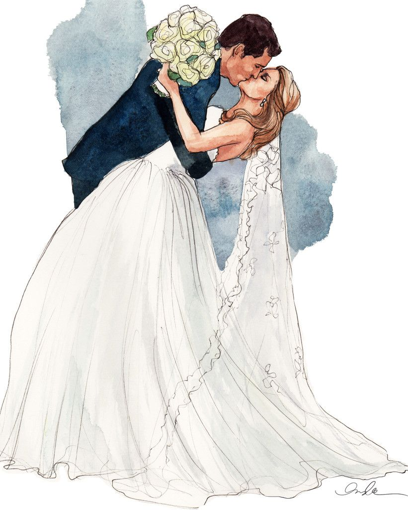 821x1024 Bride + Groom Sketches, Kiss And Books