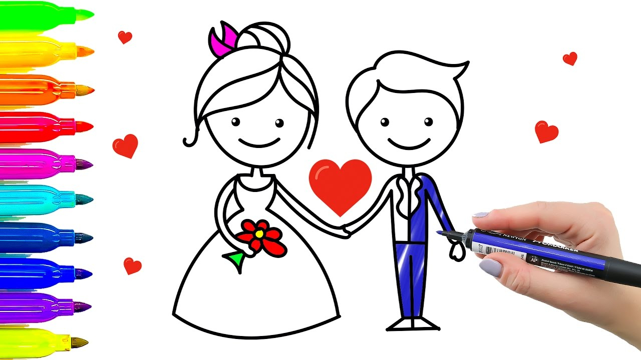 1280x720 Bride And Groom Drawings How To Draw Bride And Groom. Wedding