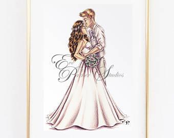 340x270 Bride And Groom Illustration Bride And Groom Art Print