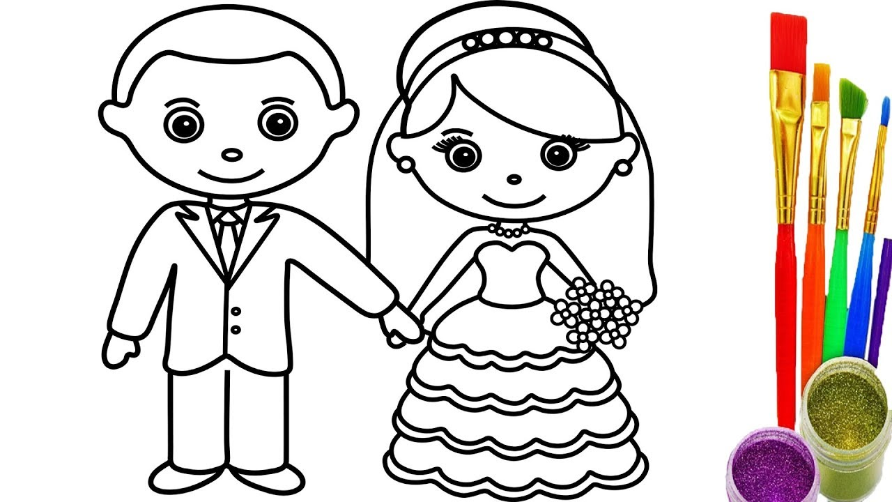1280x720 How To Draw Little Bride And Groom Coloring Pages Videos