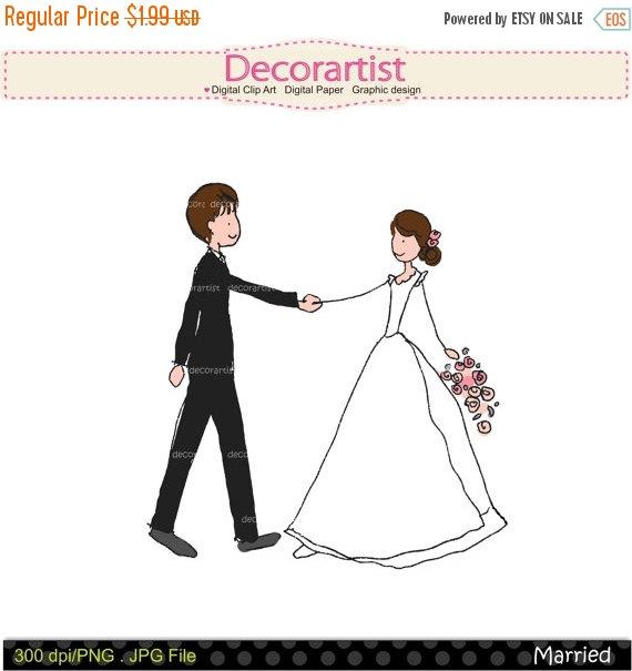 570x605 On Sale Doodle Drawing Clip Art Clipart Bride Groom Clip Art