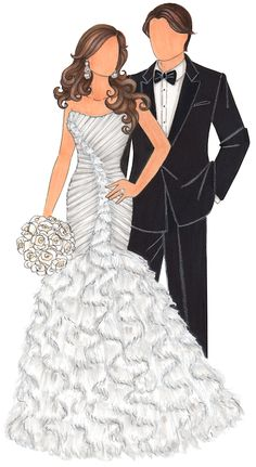 236x431 Sketch Of Wedding Dress Tux Amp Bouquet Bridal Shower Gift By