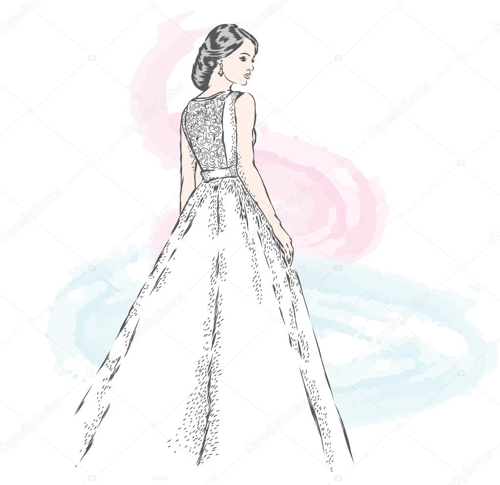 1024x993 Beautiful Bride. Girl In A Wedding Dress. Vector Illustration