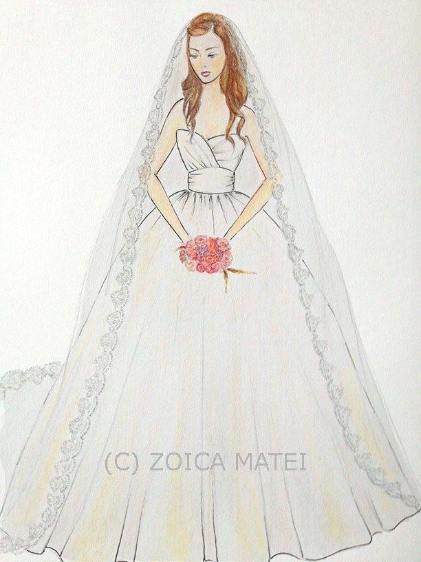612x816 Custom Bride With Bouquet Portrait, Bridal Paper Anniversary