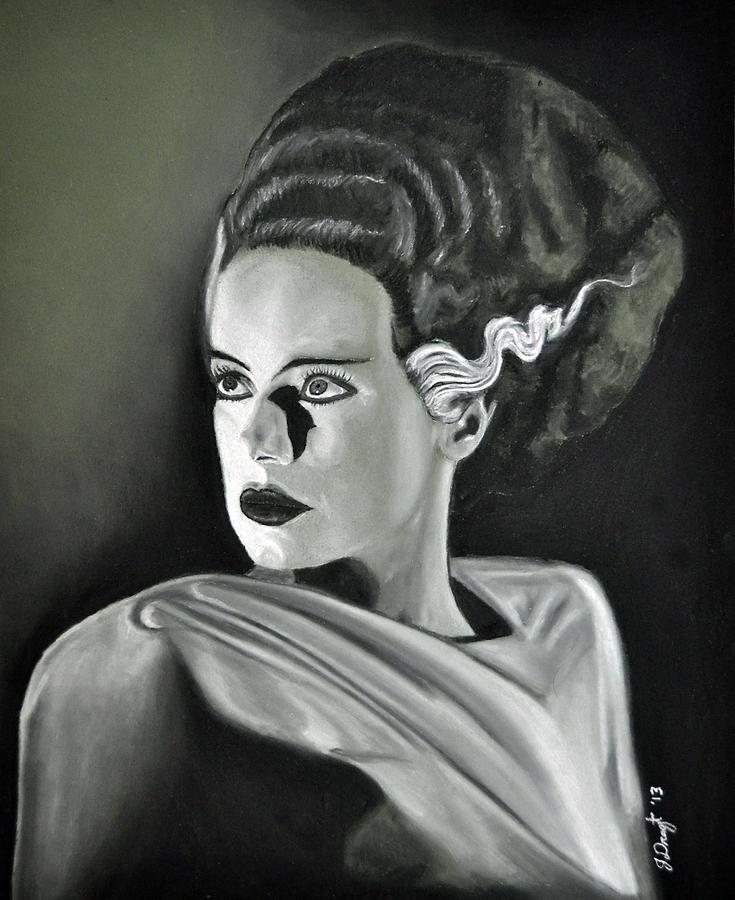735x900 Bride Of Frankenstein Drawing By Joe Dragt