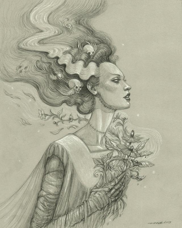 641x800 Bride Of Frankenstein' By Mia Araujo. Graphite And White Pencil