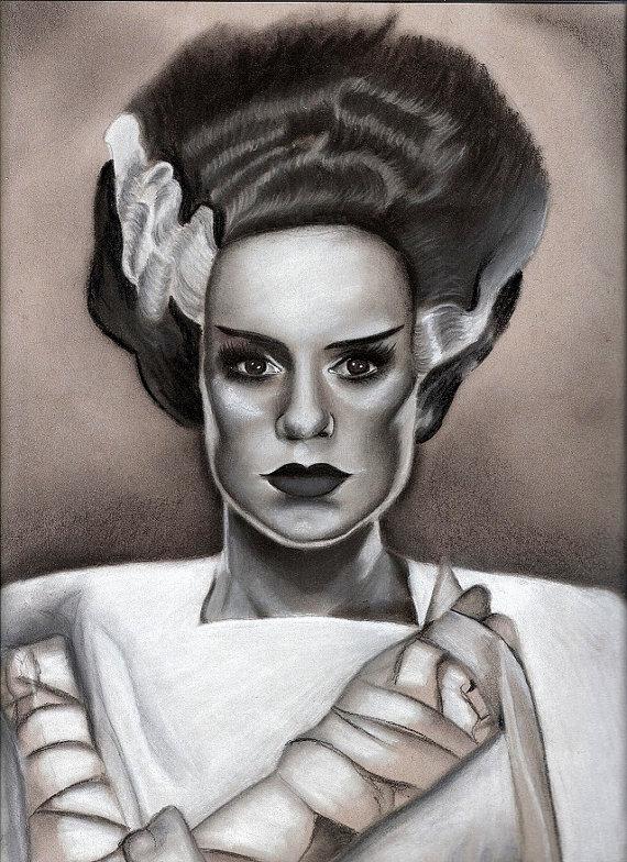 570x784 Bride Of Frankenstein Fine Art Prints Charcoal Drawing