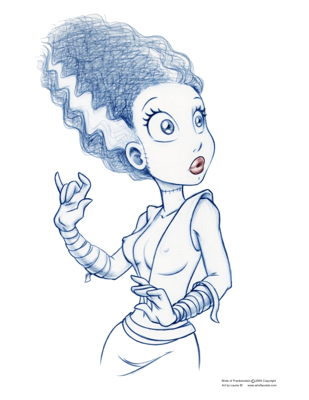 612x791 Bride Of Frankenstein Sketch By Artoflaurieb