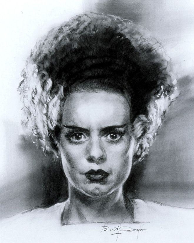 660x826 Elsa Lanchester As The Bride Of Frankenstein. Drawing By Legend