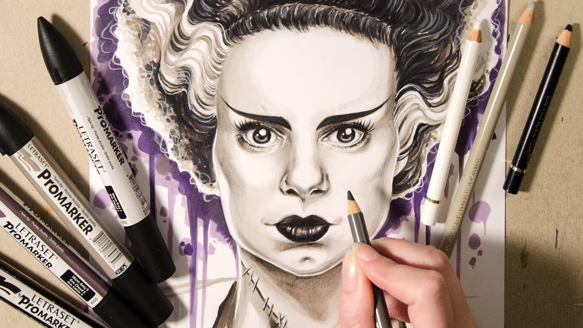 1920x1080 Speed Drawing Bride Of Frankenstein