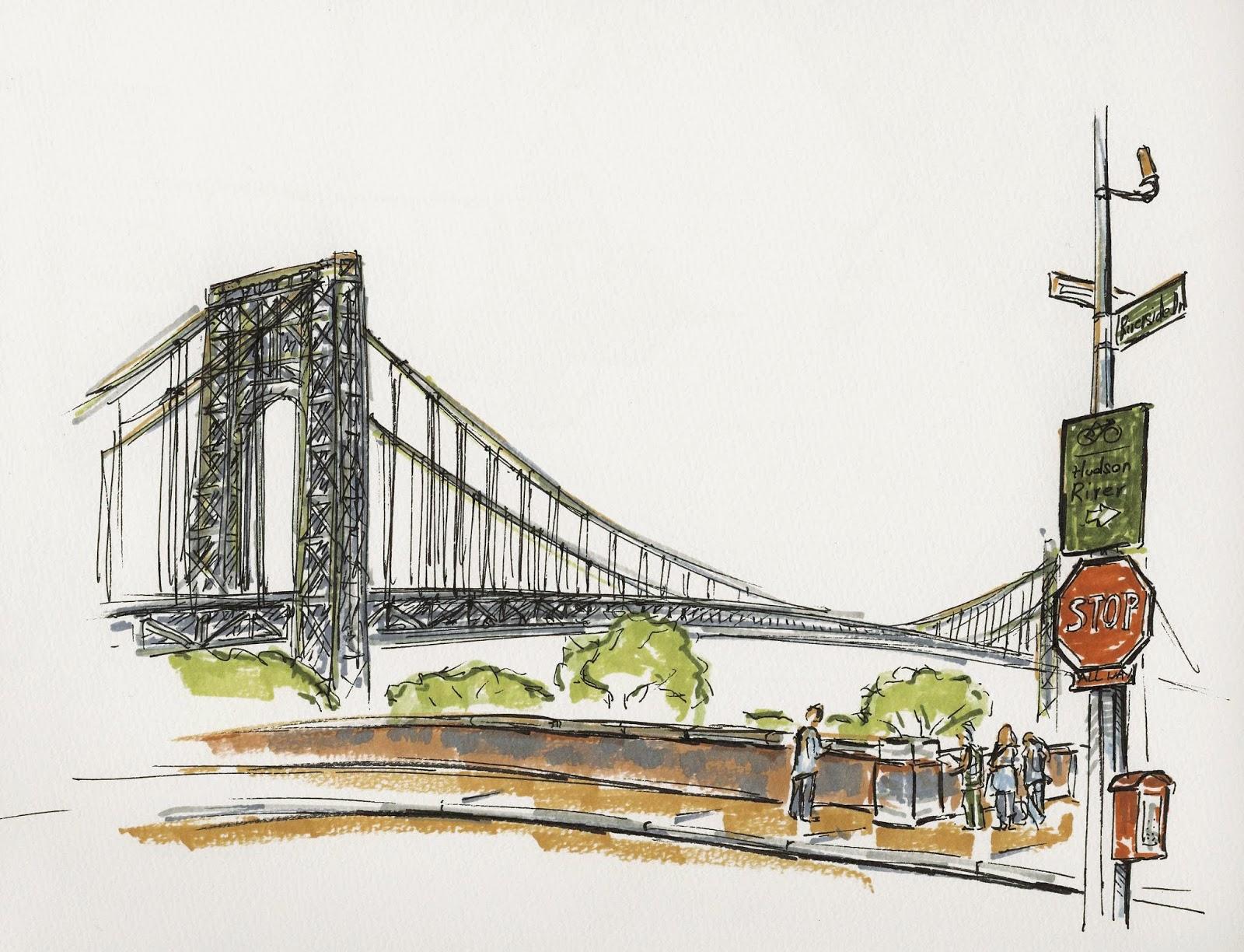 1600x1224 New York City Urban Sketchers George Washington Bridge