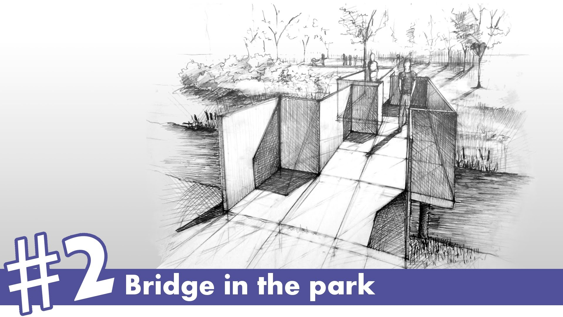 1920x1080 Bridge In The Park Perspective Drawing