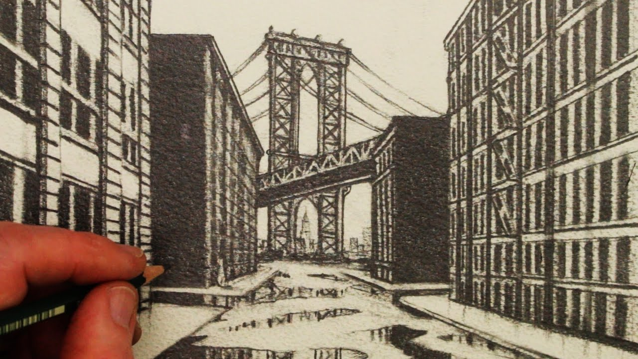 1280x720 How To Draw 1 Point Perspective A View Of Manhattan Bridge