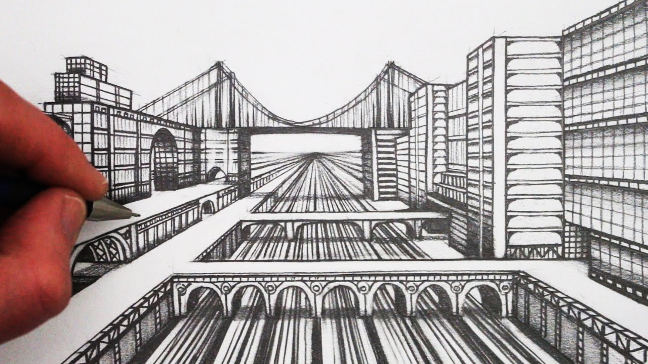 1280x720 How To Draw 1 Point Perspective Step By Step