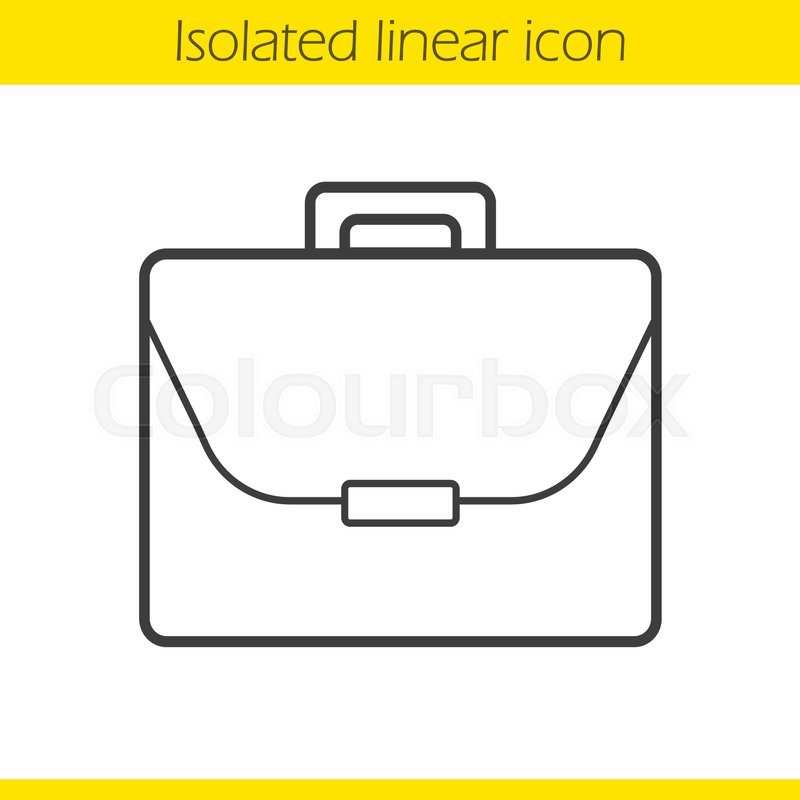 800x800 Briefcase Linear Icon. Thin Line Illustration. Laptop Bag Contour