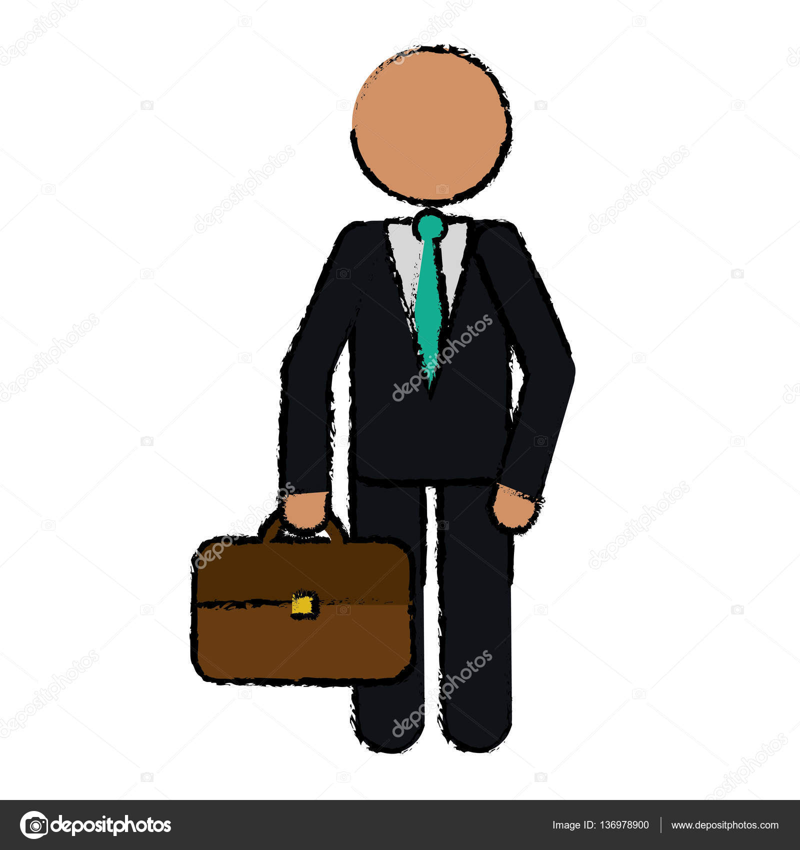 1600x1700 Drawing Character Business Man With Suit Portfolio Stock Vector