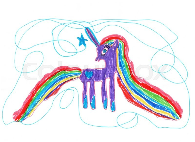 800x582 Color Child's Drawing Drawn With Markers. Bright Pony On A White