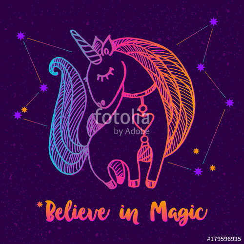 500x500 Unicorn Drawing. Bright Outlined Drawing On Dark Background