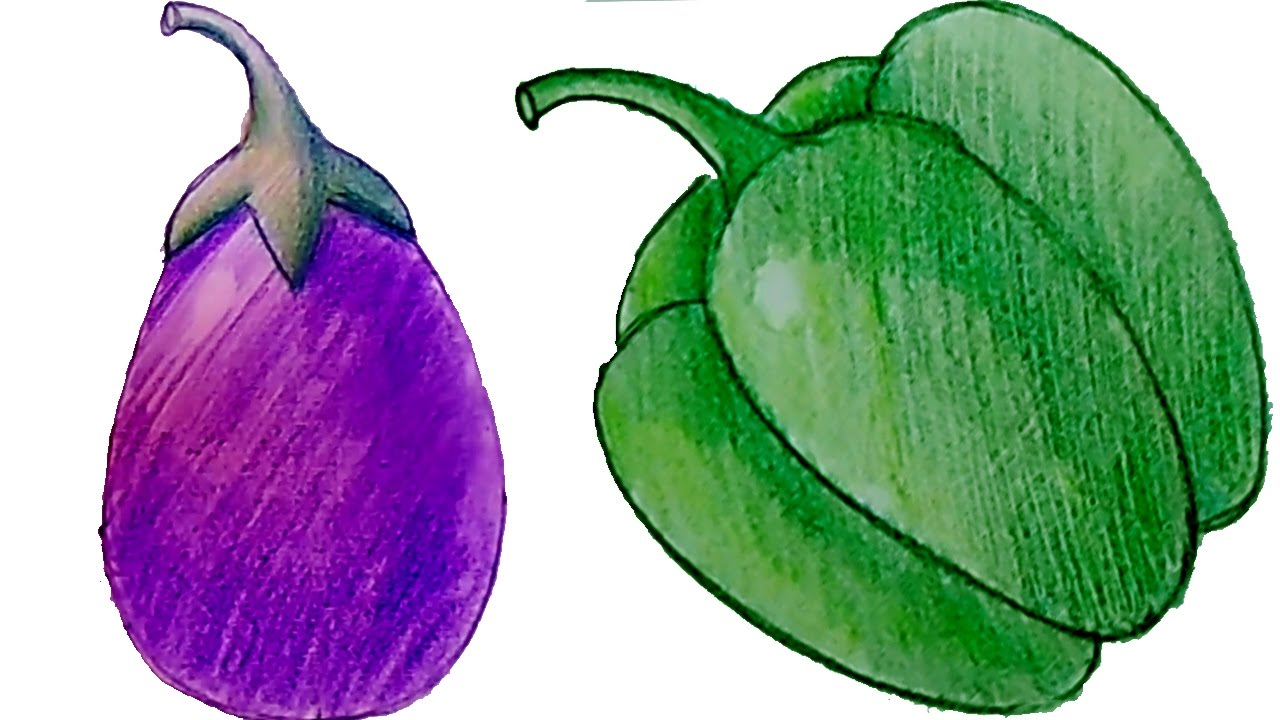 1280x720 How To Draw Shade Brinjal And Capsicum Step By Step Part 2