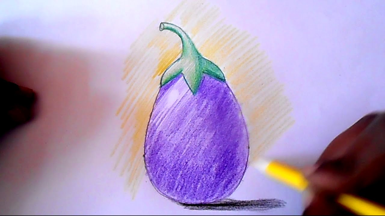1280x720 How To Draw And Shade Brinjal Step By Step