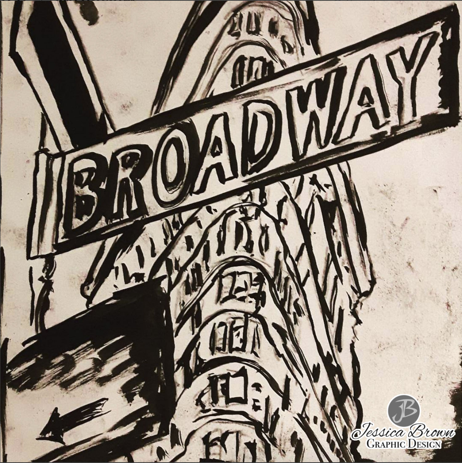 1500x1504 Broadway' Drawing Created With Ink And Pastel. Available