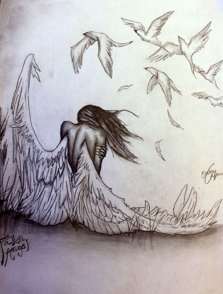 736x971 Pencil Drawings Of Angels And Demons
