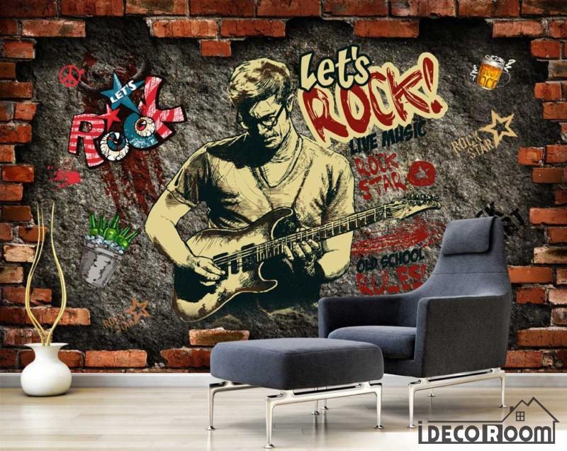 800x636 Broken Brick Wall Drawing Man Playing Electric Guitar Living Room