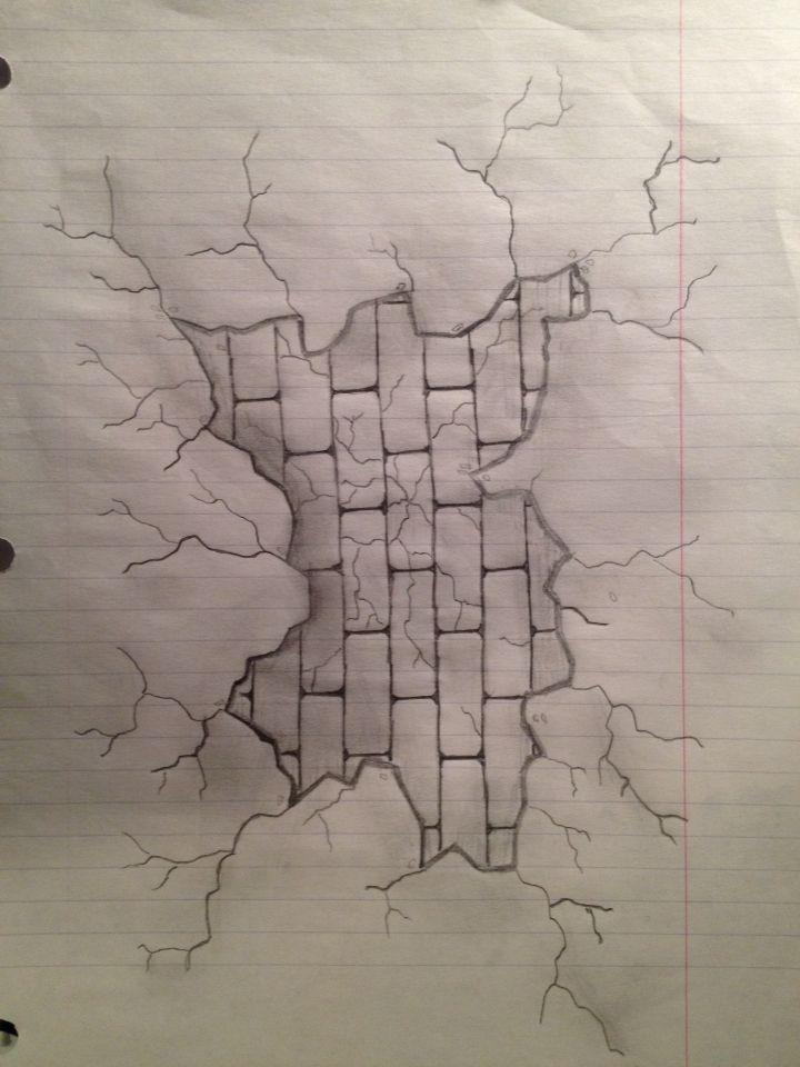 720x960 Broken Wall With Brick Wall Behind My Drawings