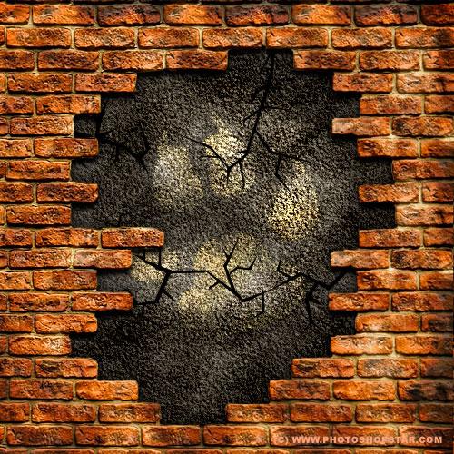 500x500 Ruinous Brick Wall Photoshop Star