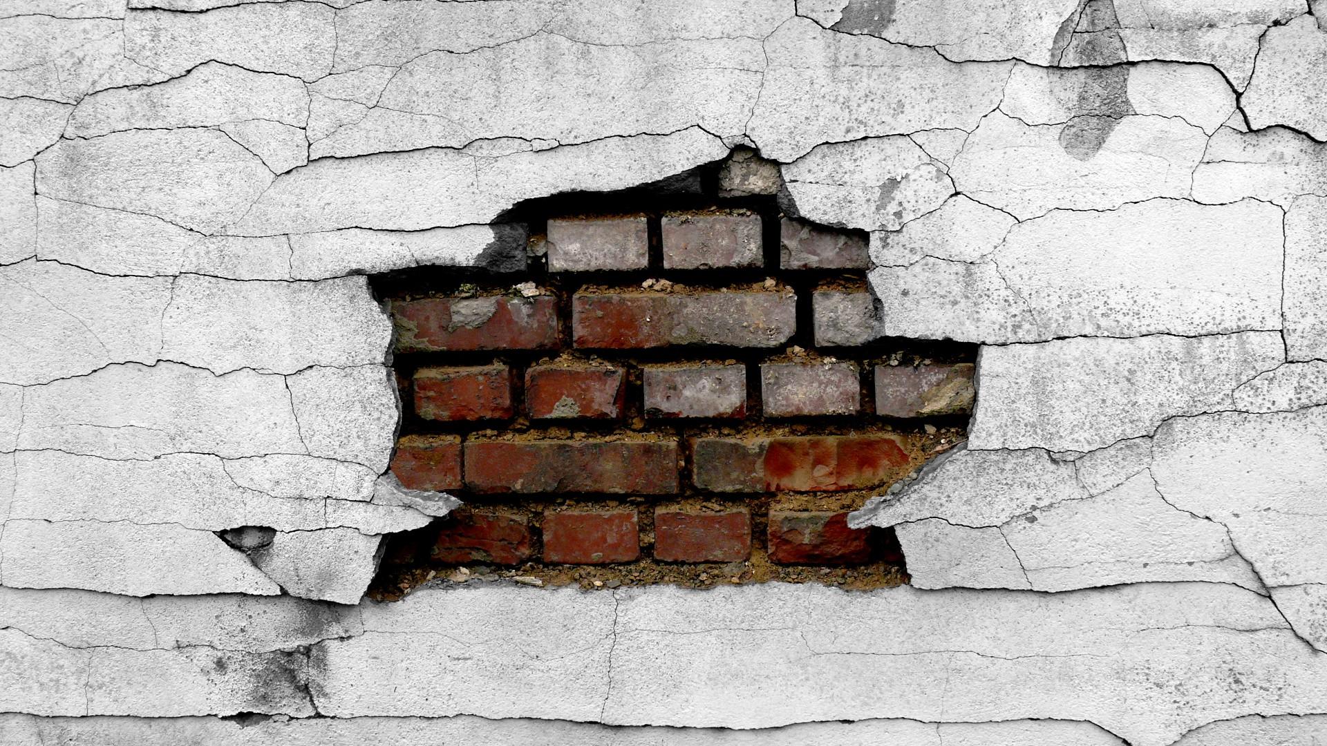 1920x1080 Wall Cracked Broken Brick Wall Wallpaper 1920x1080 48640