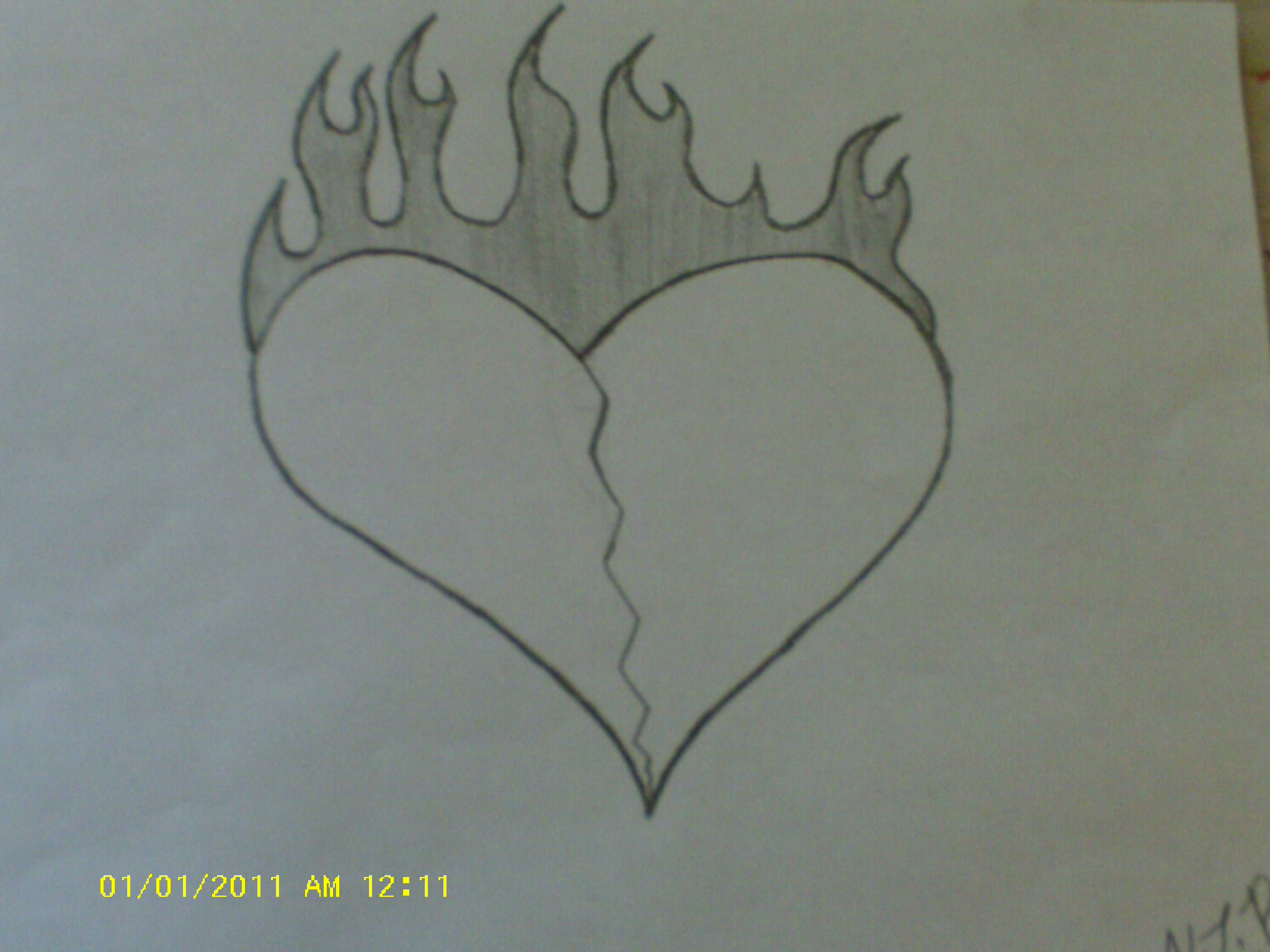 2048x1536 A Drawing Of A Broken Heart Drawn Emo Broken Heart