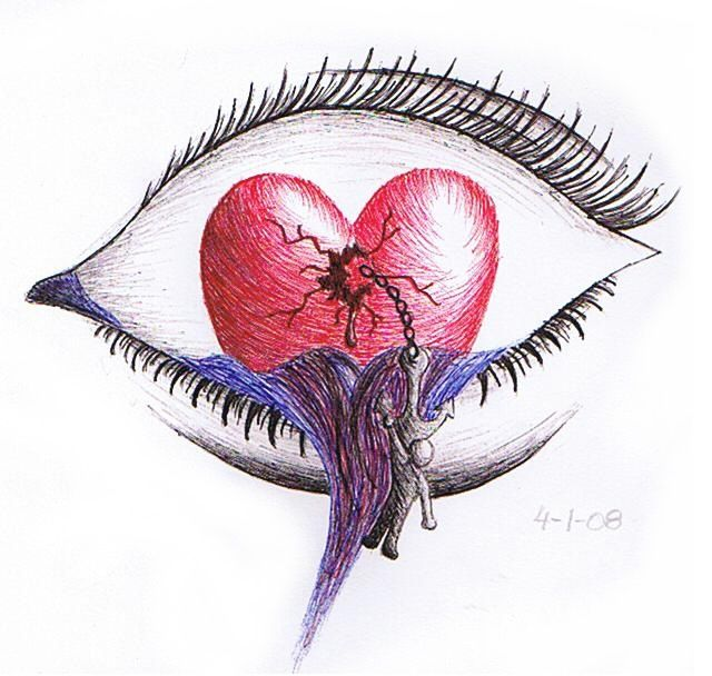 640x608 Broken Heart Drawings Waterfall Of A Broken Heart By