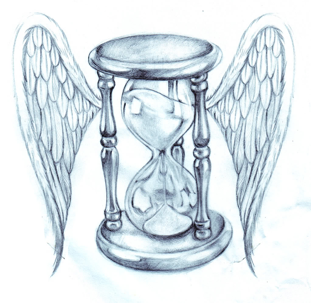 1023x997 Hourglass Drawing Hourglass With Wings Drawing Tattoo