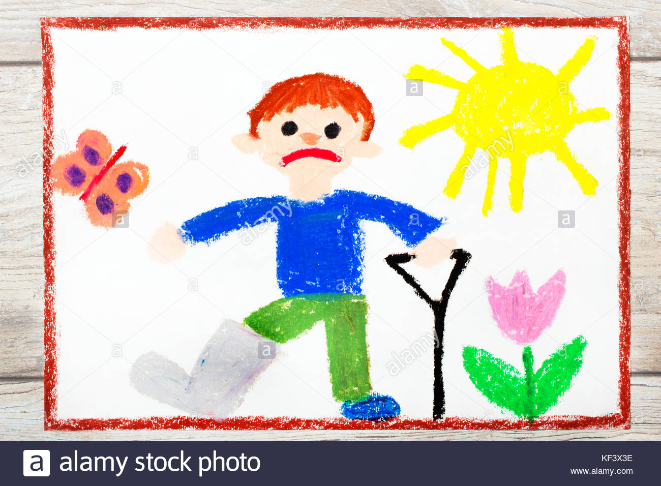 1300x956 Photo Of Colorful Drawing Sad Boy With Broken Leg Stock Photo