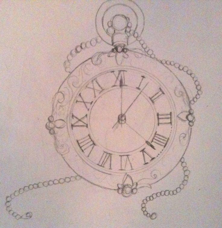 736x757 Broken Pocket Watch Drawing Tattoo ~ Tattooic