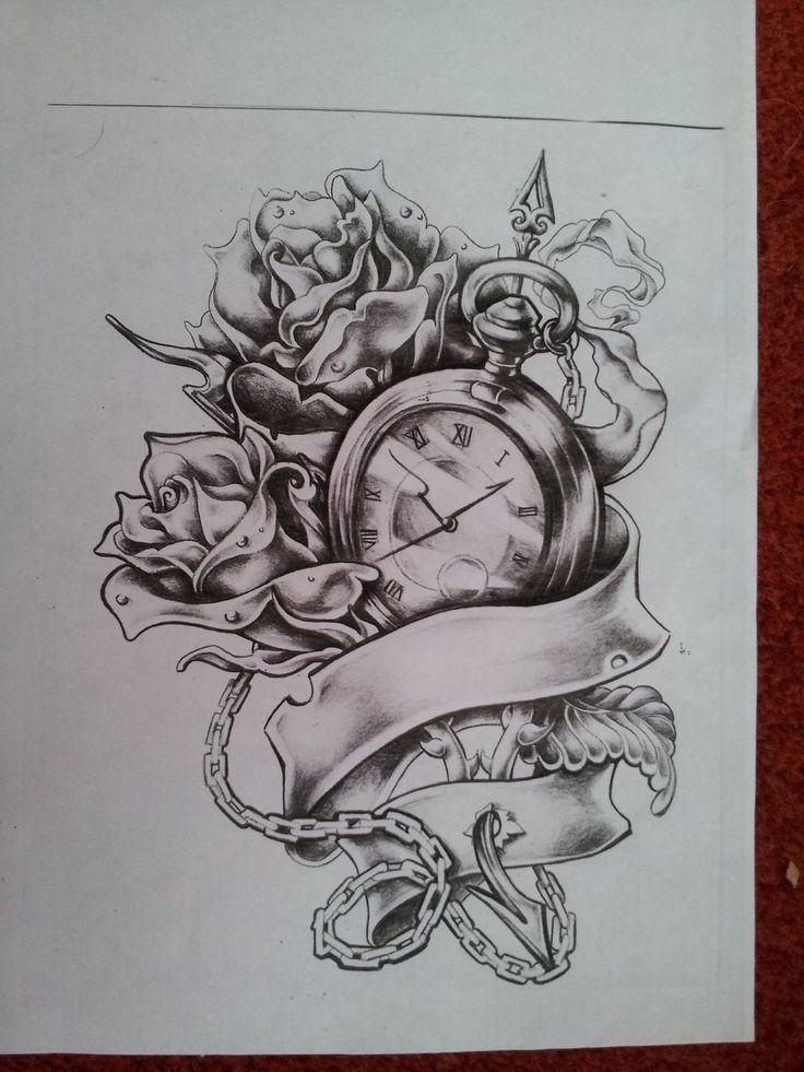 736x981 Broken Pocket Watch Tattoo Drawing ~ Tattooic