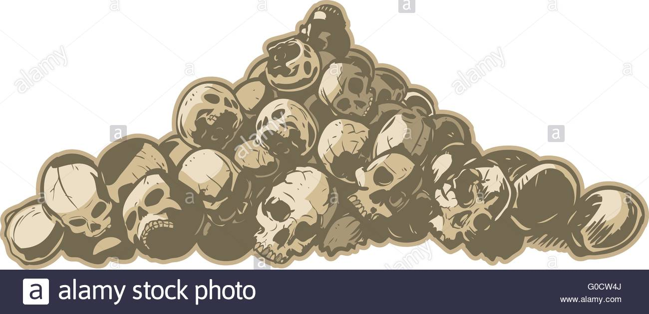 1300x630 A Vector Illustration Of Pile Of Cracked And Broken Skulls. Makes