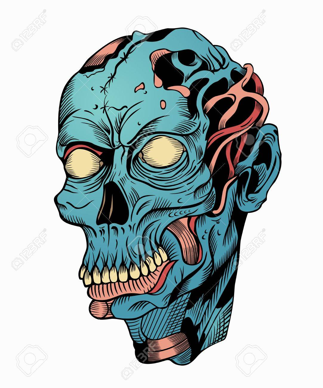1083x1300 Illustration Of Zombie Head With A Broken Skull. Royalty Free