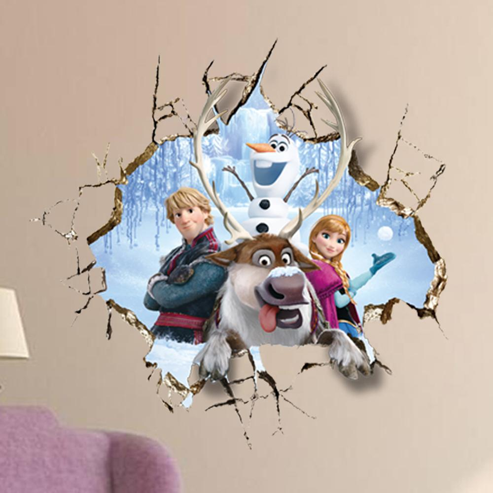 1000x1000 2015 Newly Frozen 3d Broken Hole Wall Anna Wall Stickers Removable