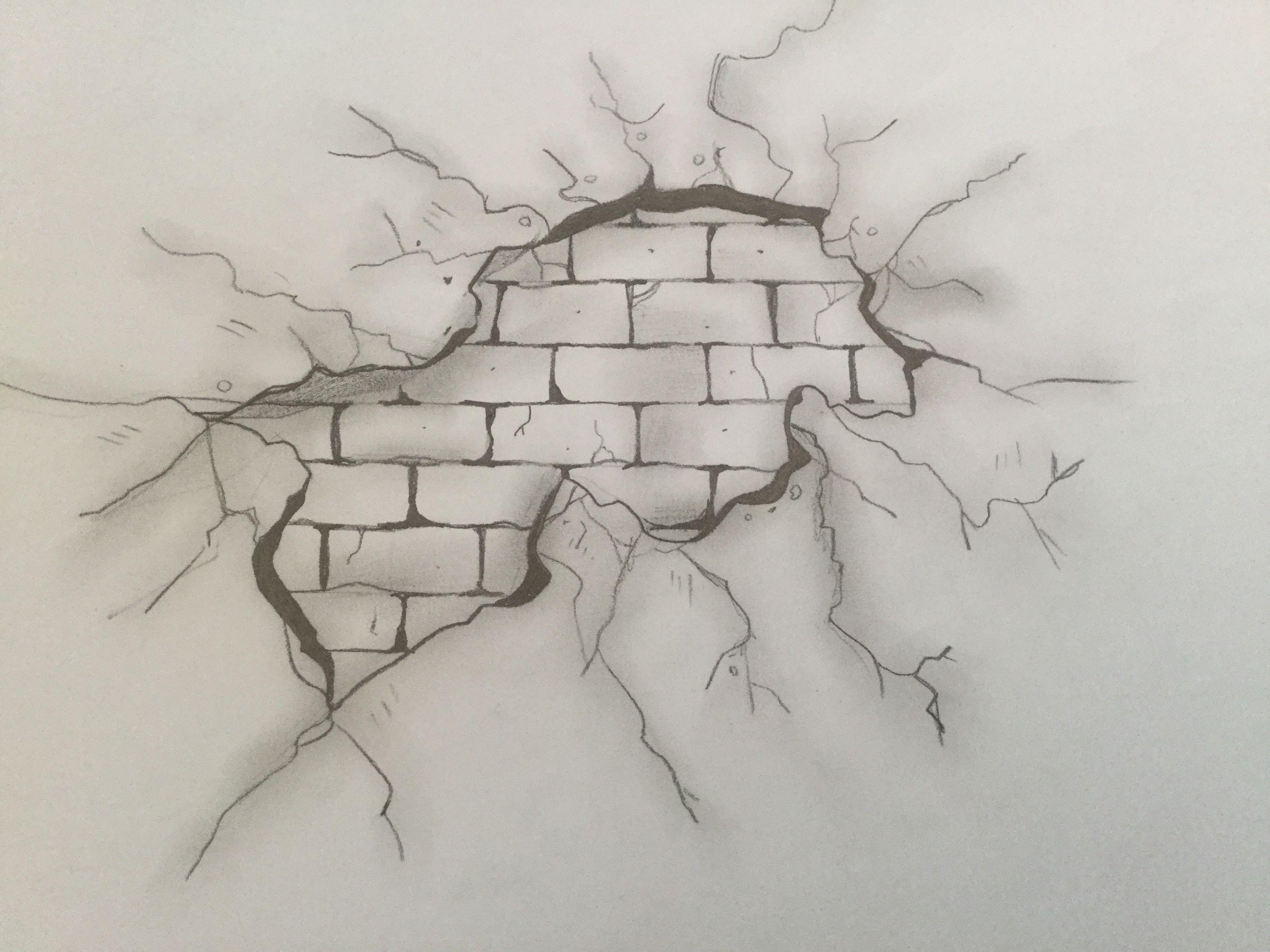 3264x2448 Broken Wall By Claire De Graaff Art Sketch Ideas