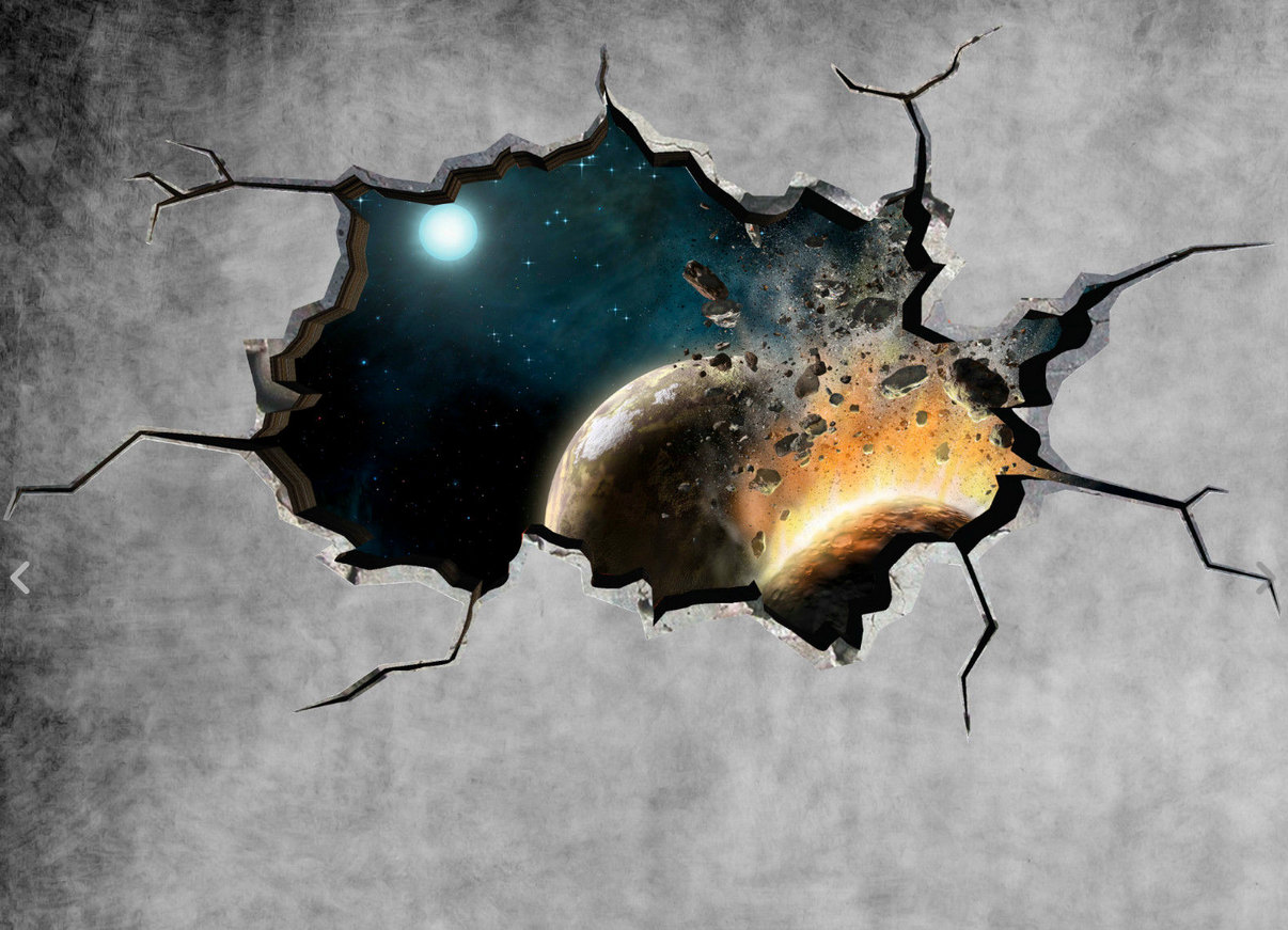 1206x871 Space Wall Decal Planet Galaxy Cracked Wall Sticker Stars