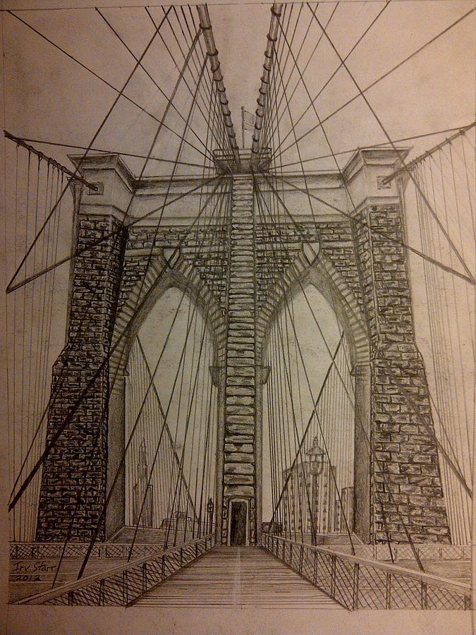 675x900 Brooklyn Bridge Drawing By Irving Starr