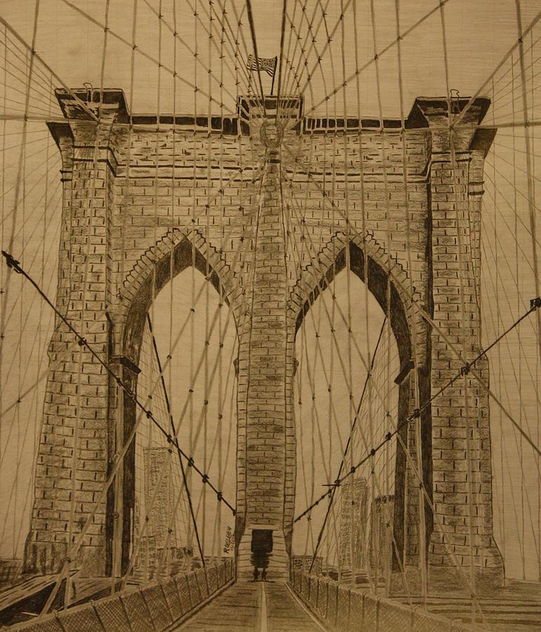 770x900 Brooklyn Bridge Drawing By Roozbeh Mirebrahimi