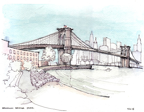 470x367 Drawing Of Brooklyn Bridge Over River Architecture Posters