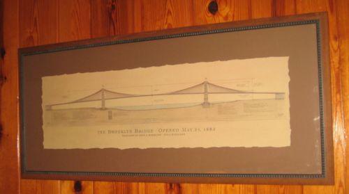 500x279 Lg Brooklyn Bridge Architectural Drawing Framed Print By Craig