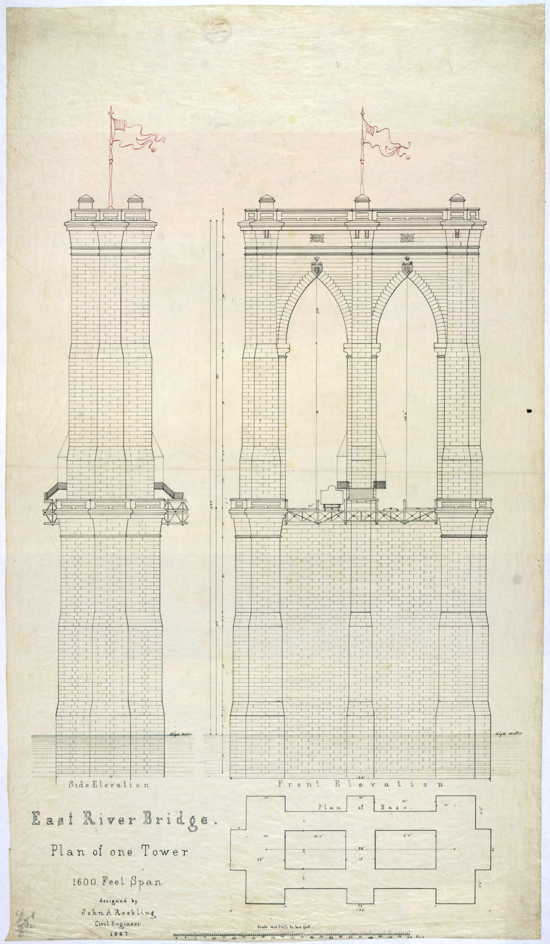 1118x1920 Today's Document Plan Of One Tower For The East River Bridge
