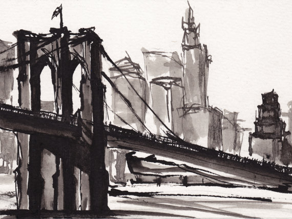 570x427 Art Pen Ink Sketch Drawing Nyc Brooklyn Bridge Black