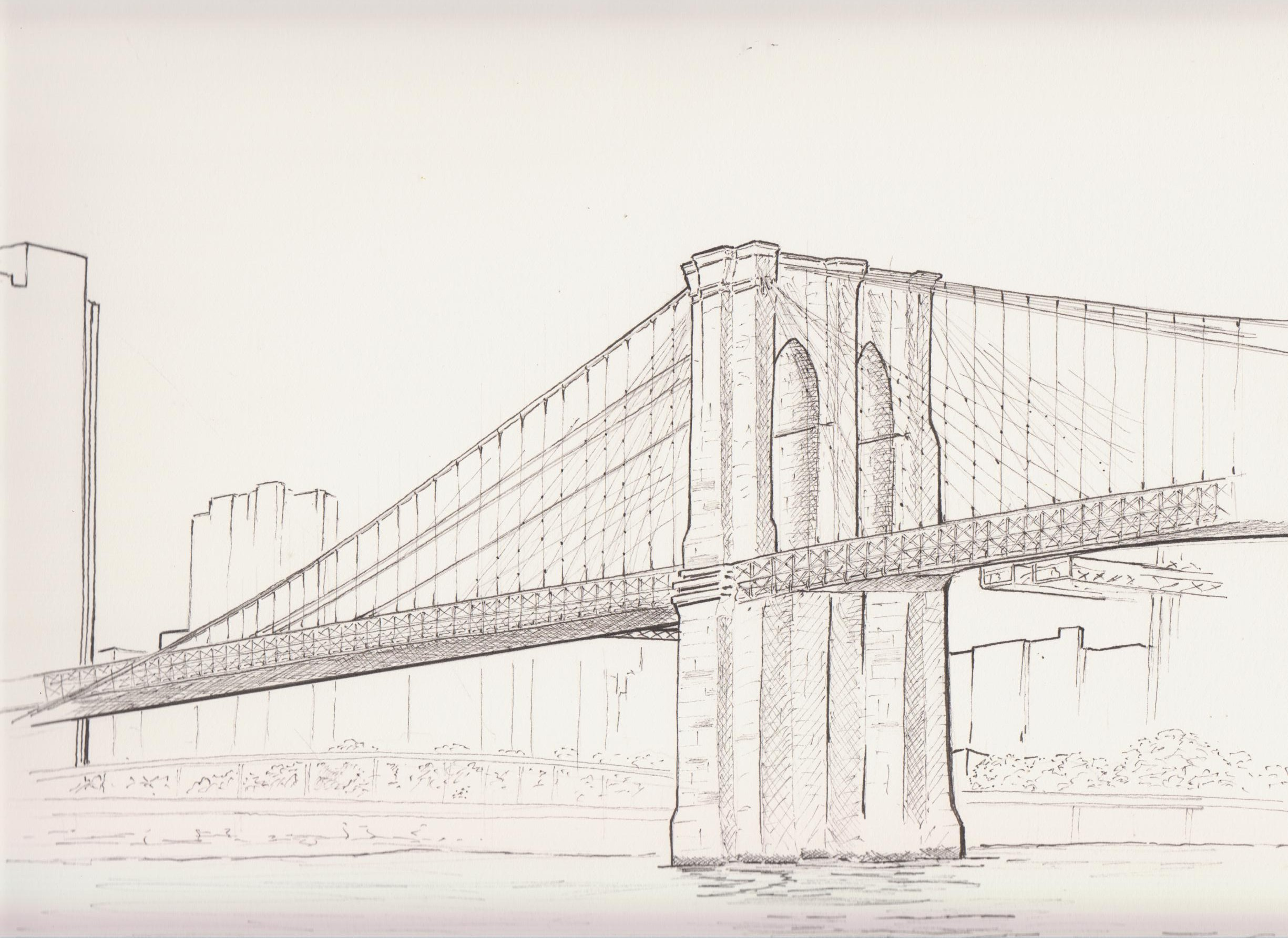 2450x1785 Brooklyn Bridge Ink Drawing