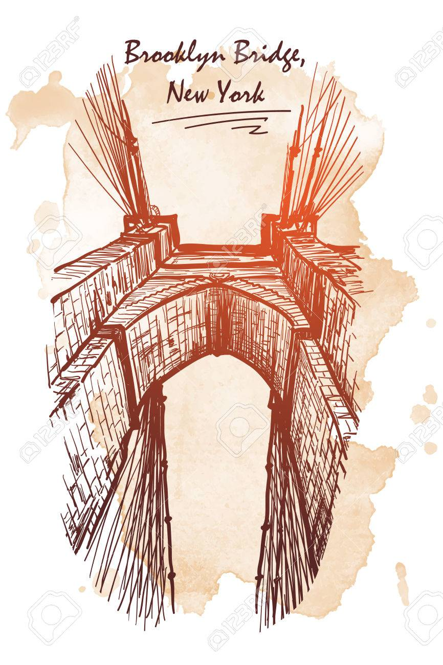 866x1300 Brooklyn Bridge. Travel Sketchbook Picture. Architectural Drawing